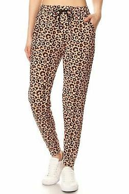 Ladies Leopard printed Joggers with pockets - brown - Women'