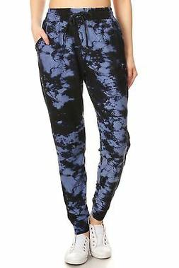 Ladies Tie Dye printed Navy Blue Joggers with pockets - Wome
