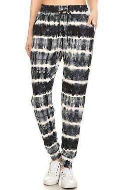 Ladies Tie Dye printed Navy Joggers with pockets - Women's