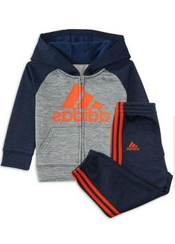 Adidas little boys 2 piece set hoodie and jogger size 5 Navy