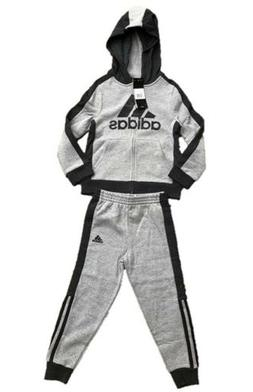 adidas Little Boys Full Zip Grey Jogger Sweats Track Suit pi