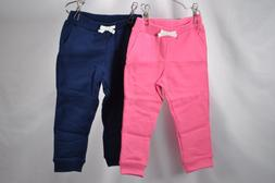 LOT OF 2 - Girl's Carters, French Terry Jogger Pants, Navy a