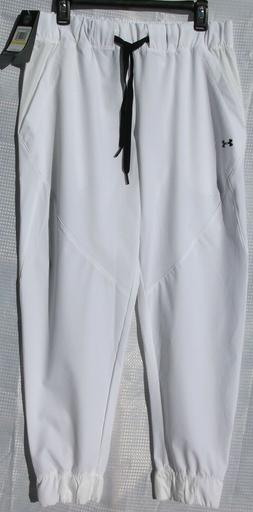 Under Armour Medium Heatgear Loose Fit Jogger Pants White Wo