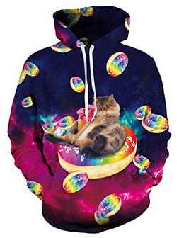 Leapparel Men Donuts Cat Graphic Hoodies Drawstring Funny 3D