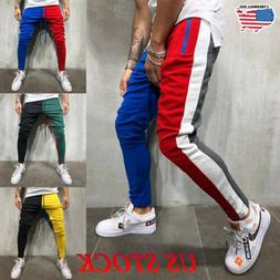 Men Gym Slim Fit Trousers Tracksuit Bottoms Striped Skinny J