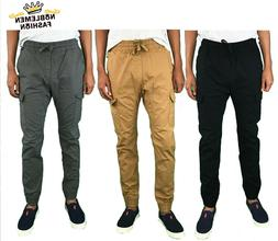 MEN JOGGERS PANTS CASUAL CARGO POCKET RIPSTOP FABRIC PANTS