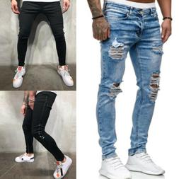 Men Ripped Wash Jeans Destroyed Straight Slim Fit Denim Pant