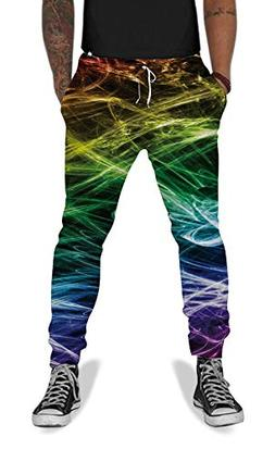 UNIFACO Men's 3D Lightning Print Gym Sport Pants Leggings Ba
