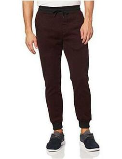Southpole Men's Basic Fleece Marled Jogger Pant,, Burgundy,