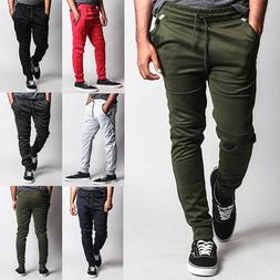 Men's Basic Moto Style Sweat Pants with Contrasting Zippers