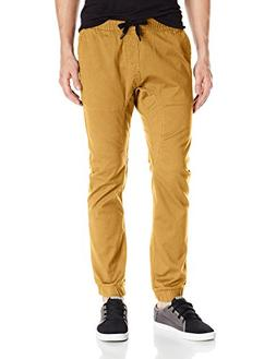 Southpole Men's Basic Stretch Twill Jogger Pants, Caramel, L