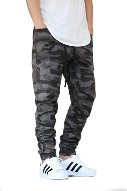 MEN'S BLACK CAMO TWILL DROP CROTCH JOGGER PANTS SIZE S-5XL V