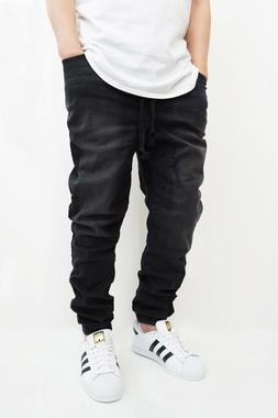 MEN'S BLACK DROP CROTCH DENIM JOGGER PANTS S-5XL VICTORIOUS