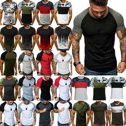 Men's Camo Fitness Short Sleeve T-shirts Casual Slim Fit Ath