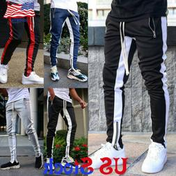 Men's Contrast Sports Pants Zipper Pocket Tracksuit Joggers