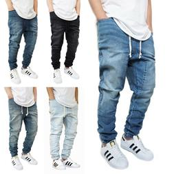 MEN'S DROP CROTCH DENIM JOGGER PANTS 5 COLORS S-5XL BIG&TALL
