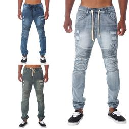 Victorious Men's Distressed Biker Denim Jogger Pants Moto je