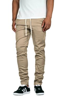 Victorious Men's Elastic Waist Trouser Twill Chino Jogger Pa