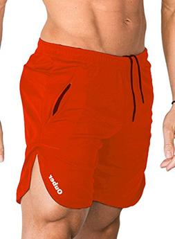 Ouber Men's Fitted Cotton Workout Shorts Casual Gym Joggers