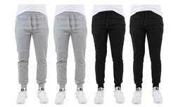 Men's French Terry Joggers With Zipper Pockets -Black Heathe