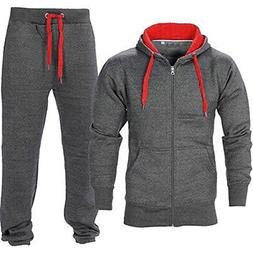 Oops Outlet Men's Gym Contrast Jogging Full Tracksuit Hoodie