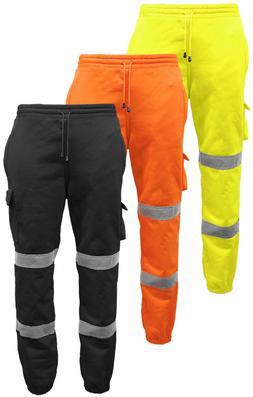 Men's Hi Vis Viz Safety Work Jogging Bottom Pants Joggers Tr