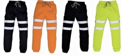 Men's High visibility Trousers Joggers Hi Viz Hi Vis Safety