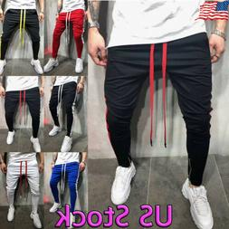 Men's Hipster Techno Track Pants With Side Color Striped Zip