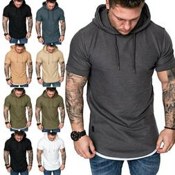men s hoodie t shirt summer muscle