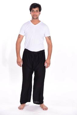 Men's Indian Cotton Baggy black Solid Trouser Pants Big &Tal