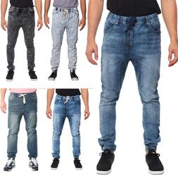 Victorious Men's Jogger Drop Crotch Denim Jogger Pants   S~5