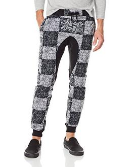 Southpole Men's Jogger Pants Fleece Fabric with All Over Che