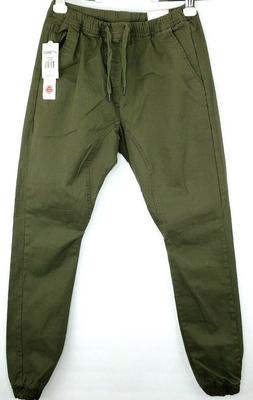 WT02 Men's Jogger Pants Size Small Olive Green Flexible Draw
