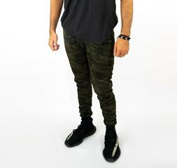 Men's Olive Camo Active Jogger Pants with Tapered Ankles- St