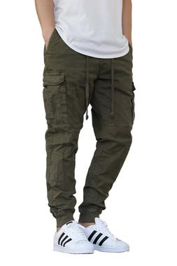 MEN'S OLIVE CARGO TWILL STRETCH JOGGER PANTS COLORS VICTORIO
