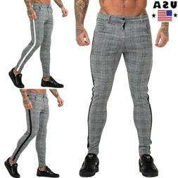 men s plaid checked slim fit trousers