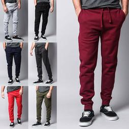 Men's Premium Cotton Blend Workout Gym Fleece Sweatpants Jog