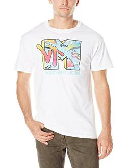 MTV Men's Retro Logo Men's T-Shirt, White, Small
