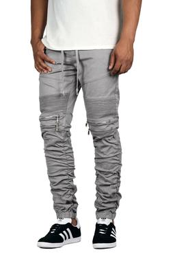 Victorious Men's Shirring Detail Biker Jogger Pants