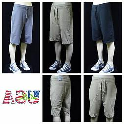 Men's Shorts Jogger Twill Cotton Terry Sports Gym Casual Ext