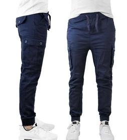 Galaxy by Harvic Men's Size Large Cargo Twill Cotton Joggers