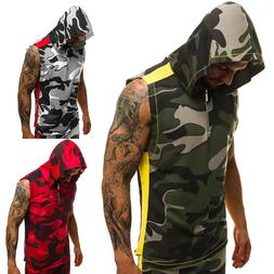 Men's Sleeveless Tops Summer Shirts Hoodies Camouflage Vest