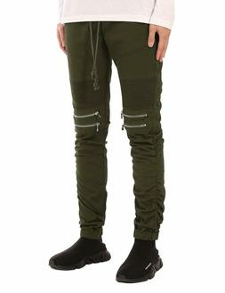 men s slim fit biker jogger pants