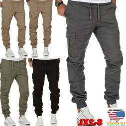 Men's Slim Fit Cargo Pants Trousers Overalls Jogging Joggers