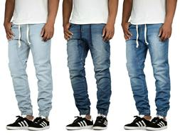 Men's Stretch Slim Drop Crotch Denim Jogger Pants Casual Big