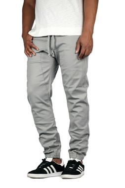 Men's Stretch Slim Drop Crotch Twill Jogger Pants Casual Big