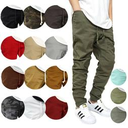 MEN'S TWILL DROP CROTCH JOGGER PANTS SIZE S-5XL *12 COLORS