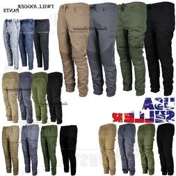 Mens Twill Jogger Pants Casual Stretch Harem Hip Hop Slim Dr