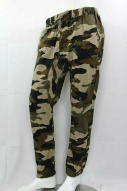 MEN'S TWILL JOGGERS PANTS HIP HOP TROUSERS SLIM FIT GREEN CA