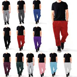MEN'S WOMEN UNISEX SWEATPANTS POCKET PLAIN FLEECE PANTS ELAS